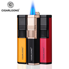 CIGARLOONG Cigar Lighter double tube portable windproof straight into the inflatable lighter igniter with cigar drill CL-0116
