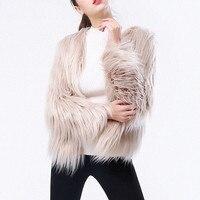 plus size Tops Furry Fur Coat Women Fluffy Warm Outerwear Long Sleeve Autumn Winter Coat Female Hairy Collarless Overcoat Jacket