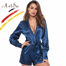 0e168e5188 ArtSu 2019 Fashion Women Silk Satin Playsuit Party Jumpsuit Deep Blue High  Waist Long Sleeve Sexy