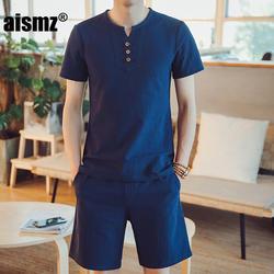 Aismz футболки шорты Летняя брендовая футболка Для мужчин легкие дышащие Повседневное пляжный комплект M-5XL белье футболка костюм мужской