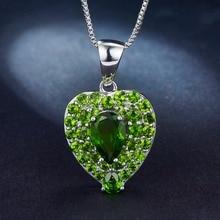 POPOKi Gemstone Green Diopside Heart Pendant & Silver Necklace