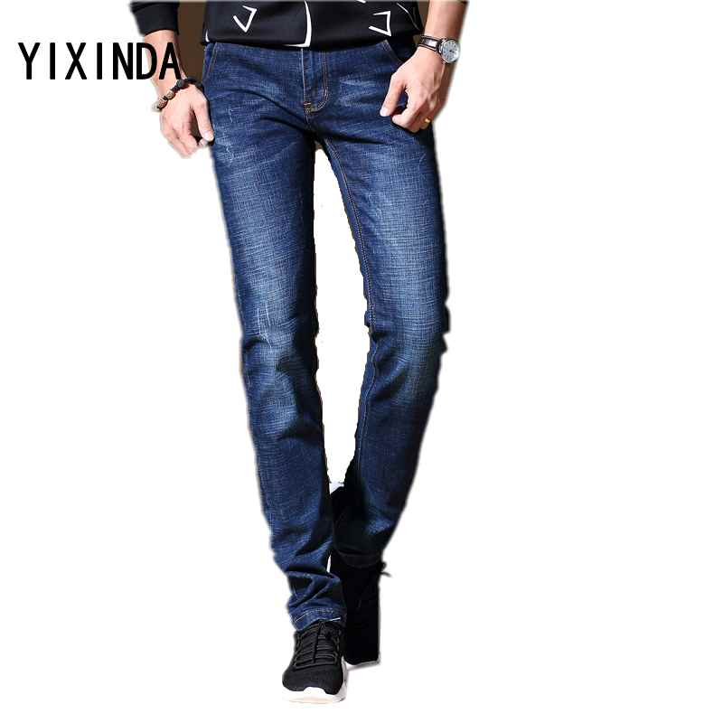 YIXINDA Brand High quality 2018 young mens jeans. Fashion stretch business slim long trousers