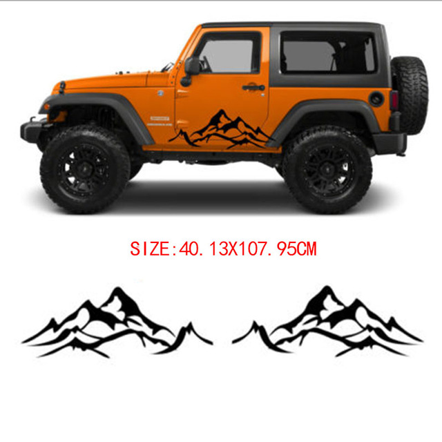 Graphics For Jeep Wrangler: Automobile 2pcs MOUNTAIN Fender Side Decal Sets Graphic