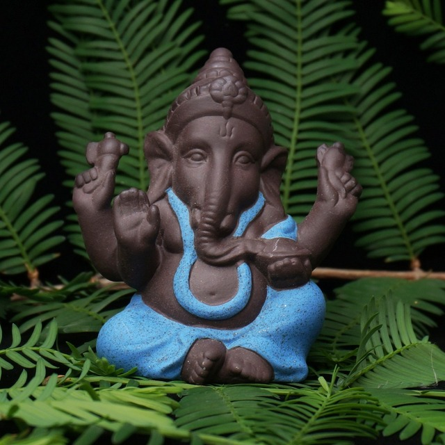 Ceramic Buddha Statues Purple sand Elephant God Figurines Home Decor Ganesha Mascot Decoration Flowerpot landscape Garden 4