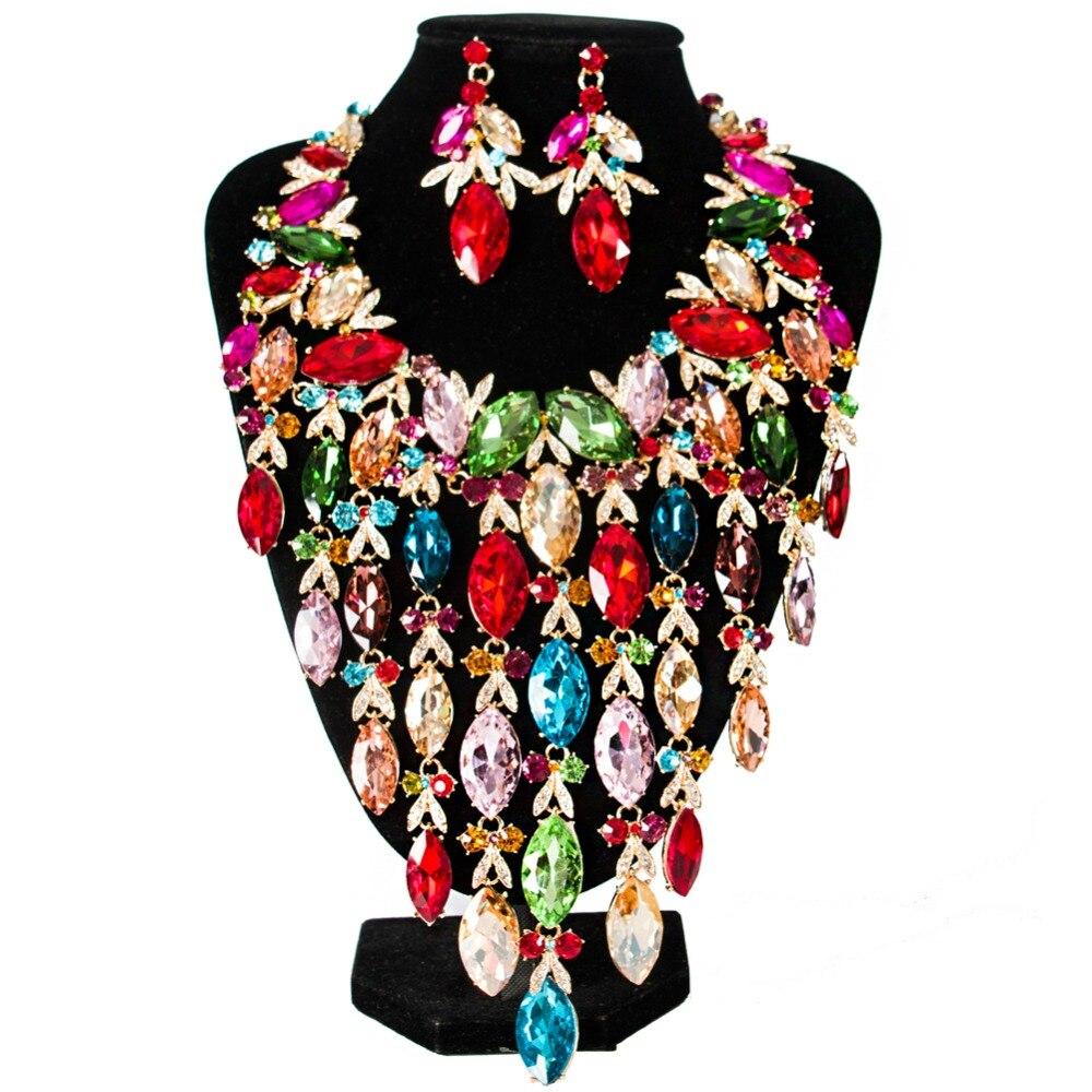 LAN PALAZZO 2019 NUOVO cristallo di lusso gioielli da sposa set del partito dei monili della collana e orecchini di trasporto liberoLAN PALAZZO 2019 NUOVO cristallo di lusso gioielli da sposa set del partito dei monili della collana e orecchini di trasporto libero