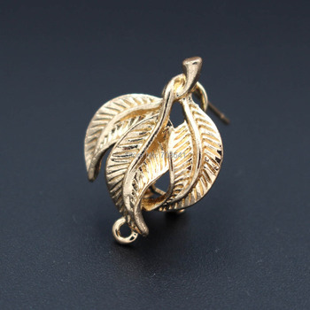 Hollow Leaf Earring Post with Loop Clip Stud Earrings Accessories DIY Findings Vintage Earrings for Women 18*25mm