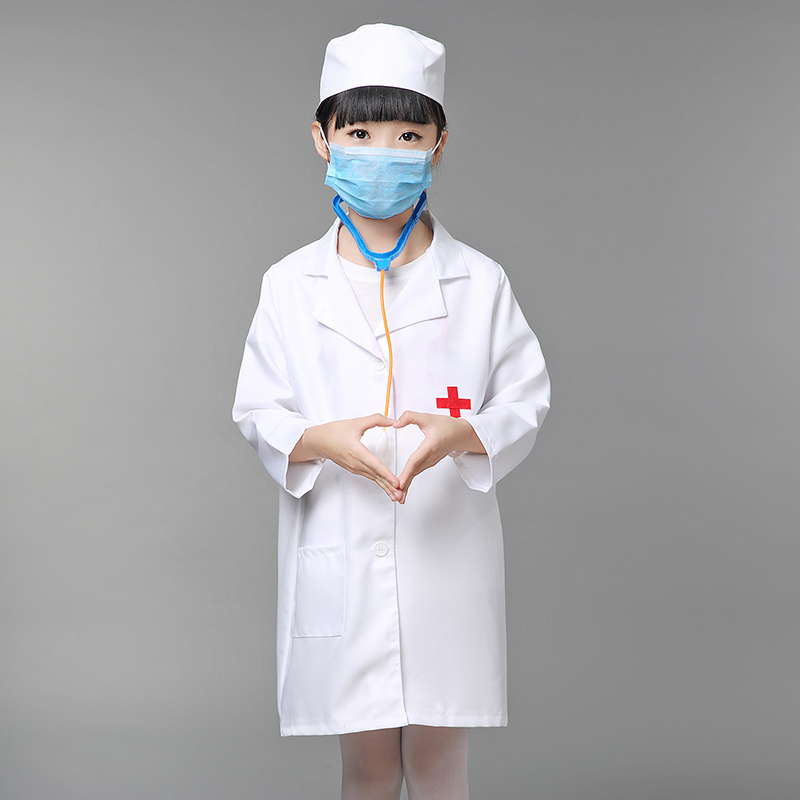 New Design Children Halloween Cosplay Costume Kids Doctor Costume Nurse Uniform with Hat +Mask