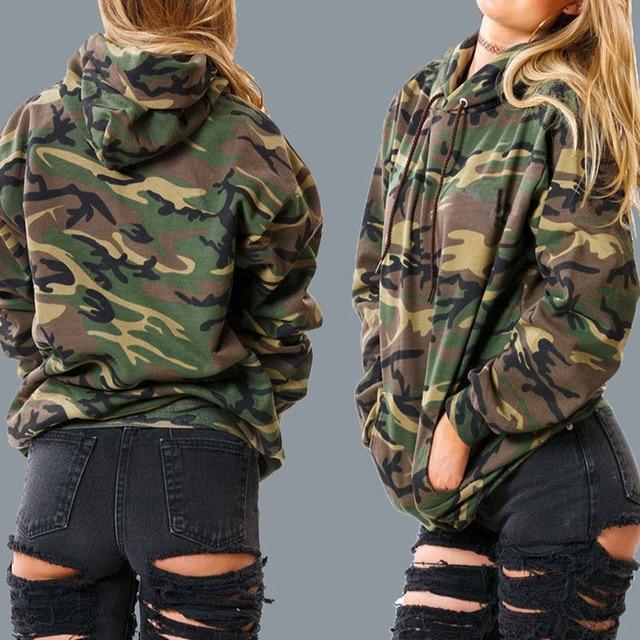 Legerprint Trui Dames.Herfst Mode Camouflage Print Hoodies 2018 Vrouwen Truien Casual