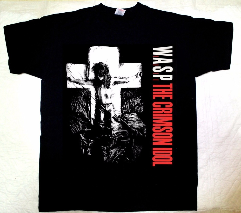 2018 Best T Shirts W.A.S.P. CRIMSON IDOL92 HEAVY METAL BAND WASP TWISTED SISTER NEW BLACK T-SHIRT New Brand Casual Clothing