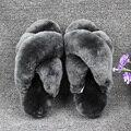 Natural Sheepskin Winter Warm Fur Slippers Women Home Shoes Men Indoor Slipper 2016 Luxury Unisex Furry Slippers Big Size 35-45