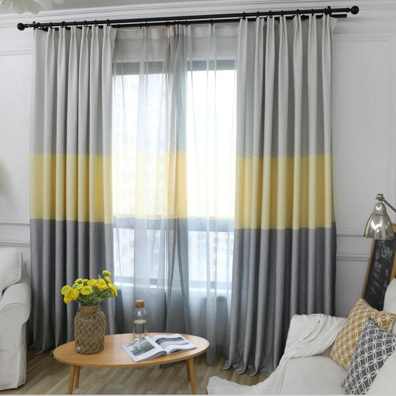 Nordic Modern Gradient Blackout Curtains for Living Room Decorative Three Colors Fabric Bedroom