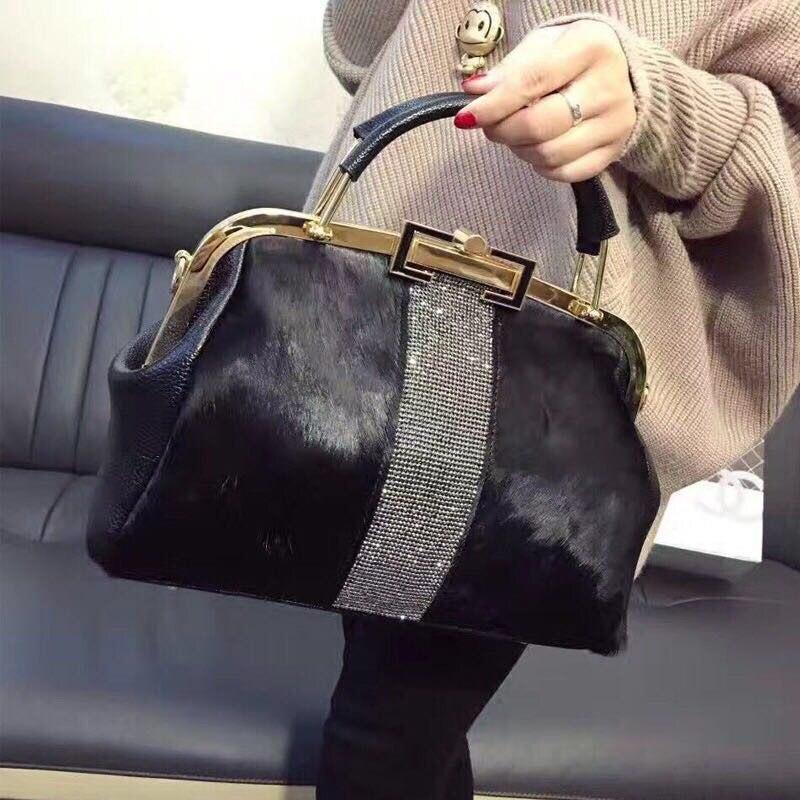 Fashion Design Leather Fur Soft Real Leather Women Handbag Two Pieces Female Shoulder Bag Girls Messenger Bag Casual Women Bag