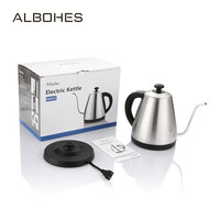 ALBOHES 1L 304 Stainless Steel Electric Kettle Gooseneck Water Kettle Electric Water Boiler Quick Heating Kitchen