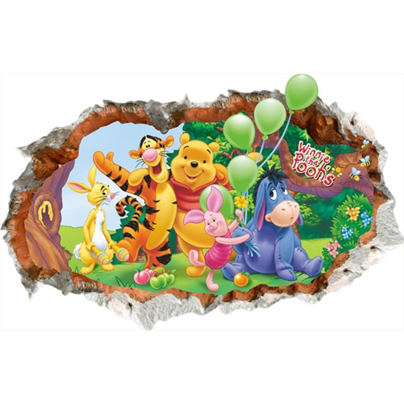 Funny Anime Pooh Mural Winnie Bear Tigger 3d Broken Wall Vinyl Stickers Kids Room Decoration Cartoon Poster Wallpaper 70 50cm In Wall Stickers From Home Garden On Aliexpress
