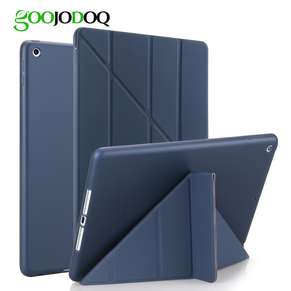 For iPad 2018 Case 9.7, GOOJODOQ Silicone PU Leather Ultra Slim Fit Light Weight Smart Cover New iPad 2018 2017 Case A1893 A1954 ...