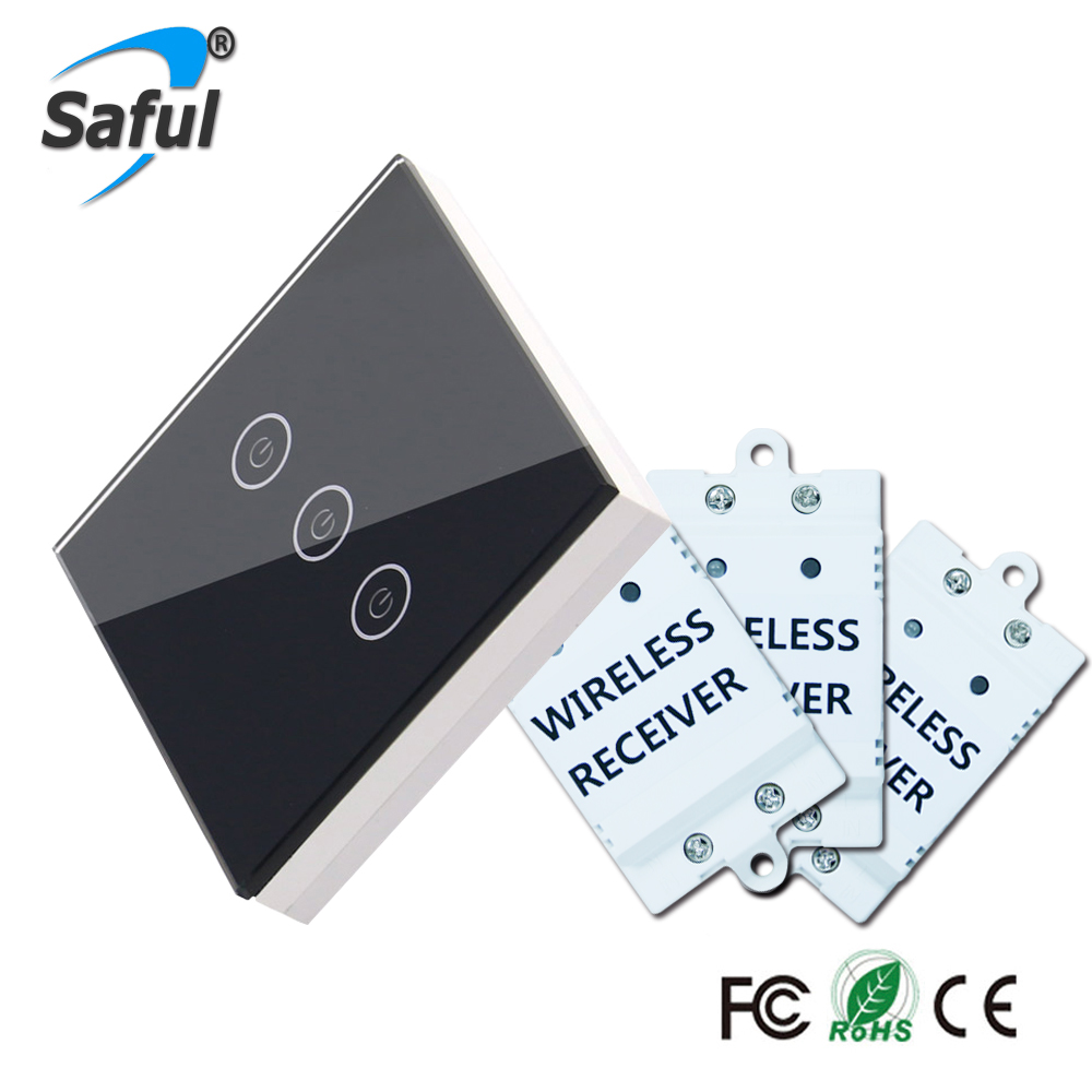 Saful 3 Gang 3 Way Wireless Touch SwitchTouch Screen Home Light Luxury DIY Painted Crystal Glass Remote Switch Free Shipping smart home eu touch switch wireless remote control wall touch switch 3 gang 1 way white crystal glass panel waterproof power