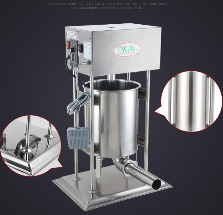 18 20L Electric Sausage Meat Stuffer With 4 Funnels Commercial Automatic Sausage Filler Aluminum Manual Salami Sausage Maker