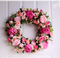 18 inch Simulation pink peony Garland thanksgiving Wreath home decoration Welcome Front Door Wreath Housewarming Gifts