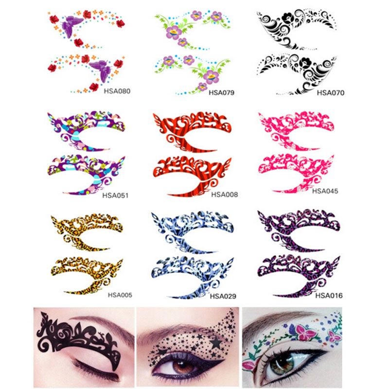 Halu 2017 new arrive fashion eye rock eyeshadow rhinestone for Crystal eye tattoos