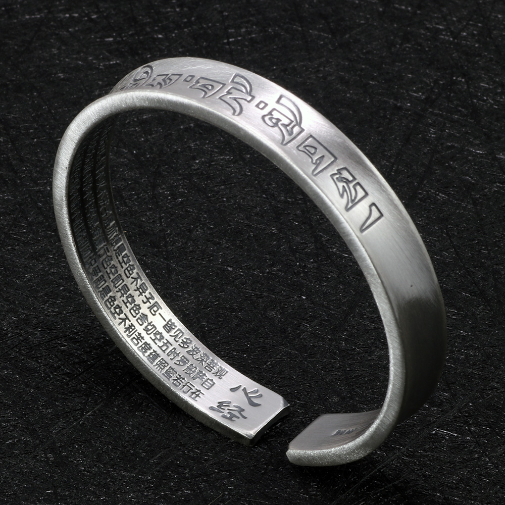 Real Pure 999 Sterling Silver Mantra Bangles For Men And Women Sanskrit Om Mani Padme Hum Vintage Punk Tibetan Buddhism Jewelry