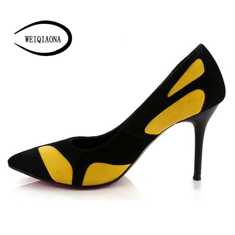 Profonda Vestito Single Fashion black New ''high Delle Pattini Donna Da Poco 4 Partito Heel Sexy Scarpe Black 3 Donne Pompe Punta Di Layies Weiqiaona A wOPX80Nnk