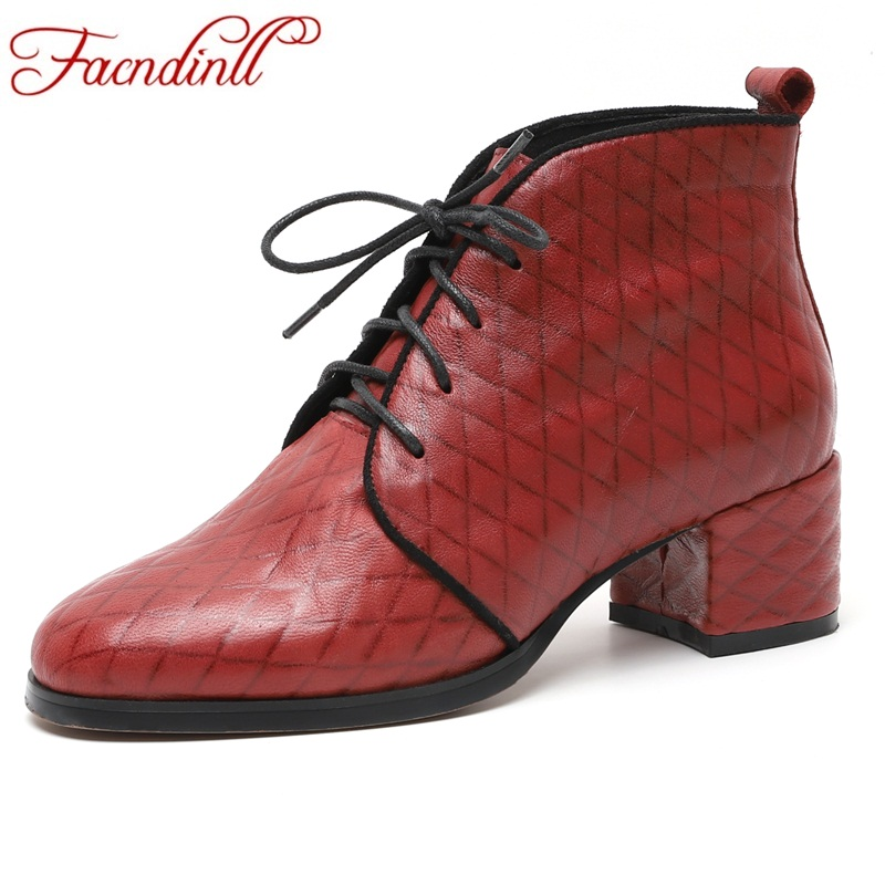 все цены на FACNDINLL new autumn winter women ankle boots genuine leather square heels lace up black lace up woman dress party casual shoes онлайн