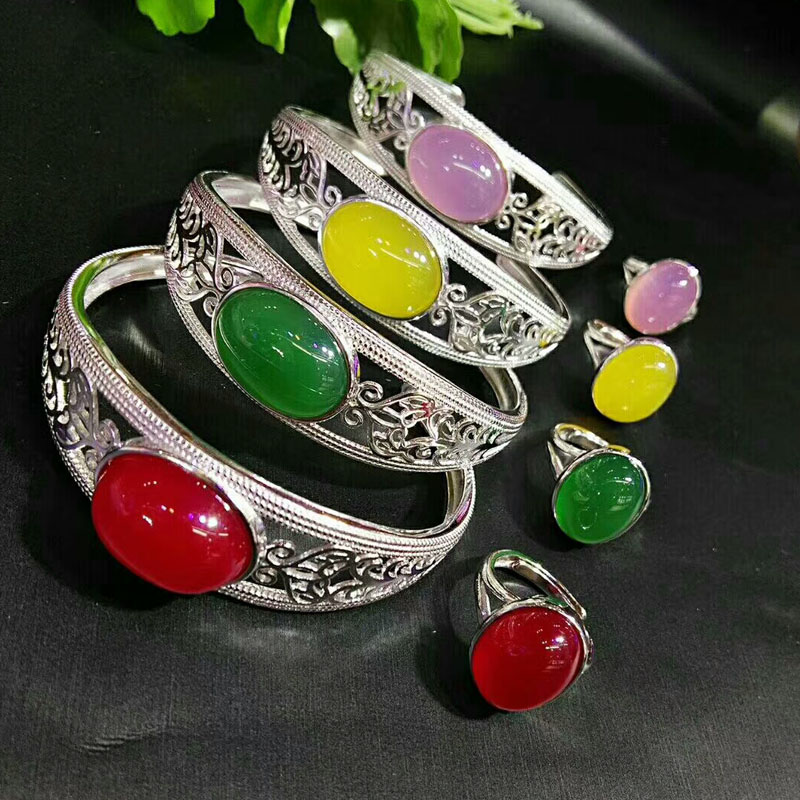 yu xin yuan Fine Jewelry Natural Jade Medullary hand-made 925 Silver Women Jewelry Sets Trendy Bangle Ring Jewelry Sets