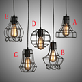 E27 старинные подвесной американский стиль флягодержатель подвесной, Винтаж птичья клетка украшения промышленные подвесные светильники