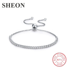 SHEON Authentic 100% 925 Sterling Silver Sparkling Strand Adjustable Bracelet Women Link Tennis Jewelry