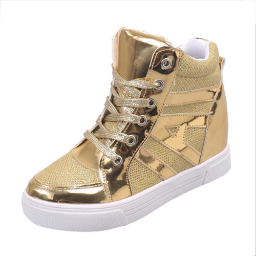Women High-top Breathable casual shoes Gold 38 free shipping candy color women garden shoes breathable women beach shoes hsa21