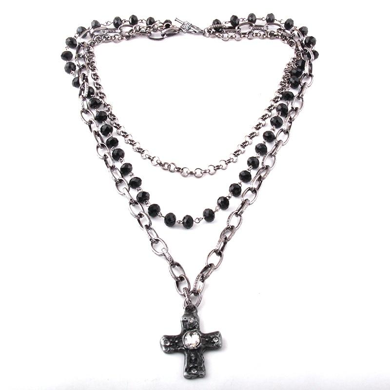 Gioielli tribali bohémien di moda collane con pendente a croce a catena in cristallo nero multiplo a 3 strati 1