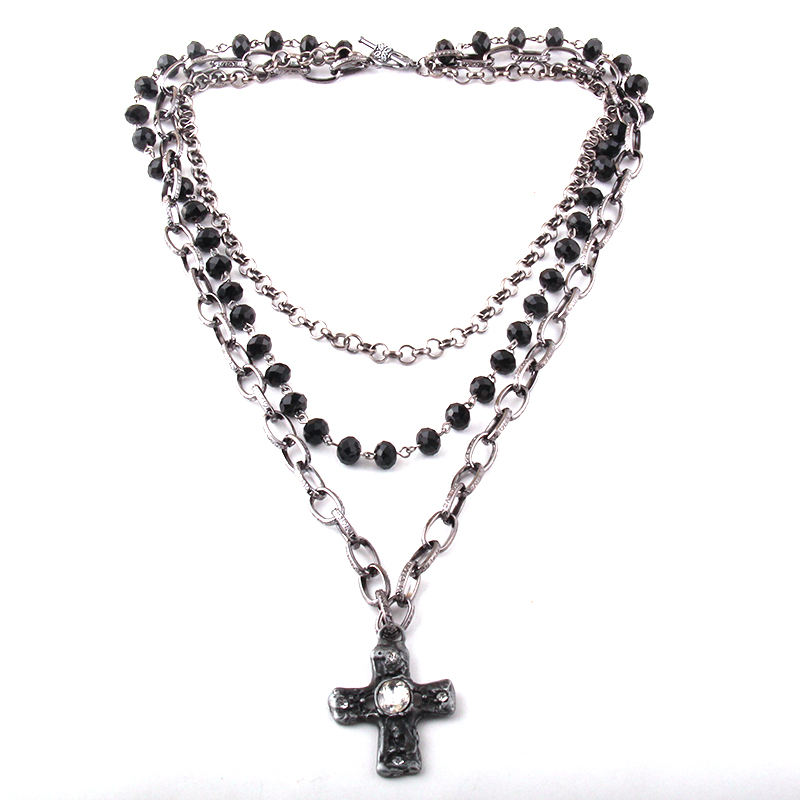 Fashion Bohemian Tribal Jewelry 3 Layer Multiple Black Glass Crystal Rosary Link & Chain Cross Pendant Necklaces
