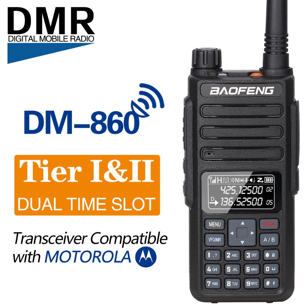 Baofeng DM 860 Dual Band Dual Time Slot Digital DM 1801 Radio Walkie Talkie Transceiver DMR Motrobo Tier1 Tier2 Portable Radio-in Walkie Talkie from Cellphones & Telecommunications    1