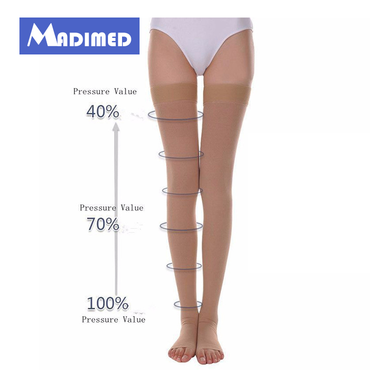 MADIMED Anti-fatigue Compression Varices Stockings Varicose Veins Mid-calf Length Medical Socks For Women Anti-embolism ombre circle calf length socks
