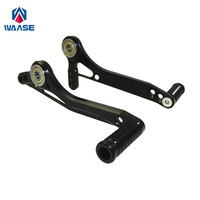 waase Motorcycle Adjustable Shift Pedal Lever & Brake Shifter Pedal Lever Toe Pegs For Rearset Rear sets
