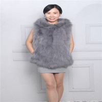 Winter women's fur vest fox fur long hooded hooded suede coat