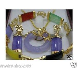 Лидер продаж, благородно-натуральный нефритовый подвесной комплект колье, серьги, браслет и цепочка