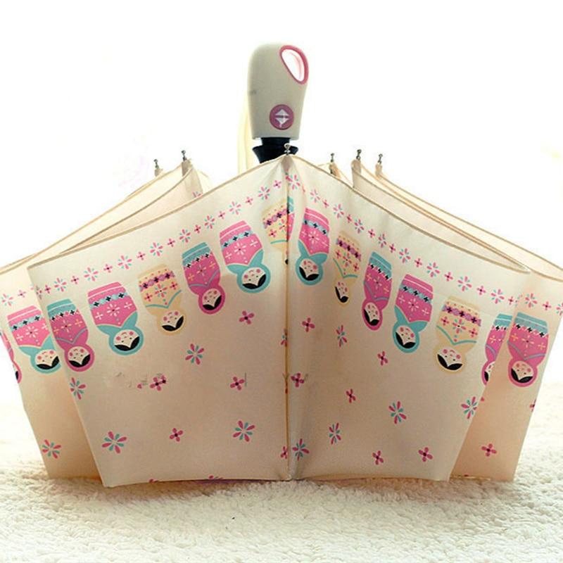 Teljesen automata esernyő magas minőségű rajzfilm matryoshka baba napos esernyő, esernyő eső napernyők esernyő esernyő napernyő