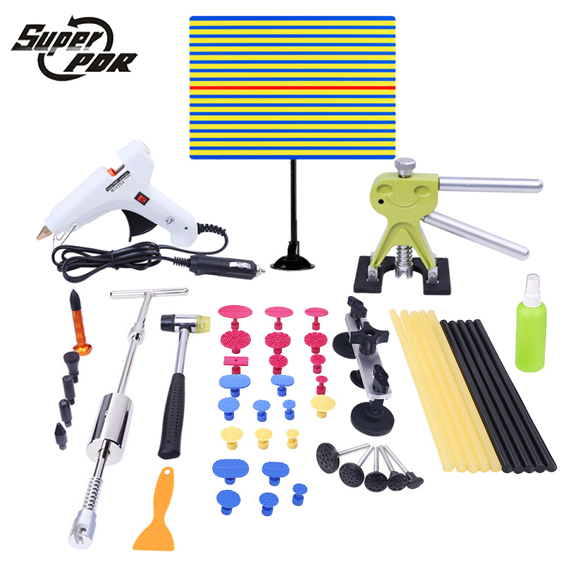 PDR tools Paintless Dent Repair Tool Kit Car body dent removal tool set yellow line Reflector board car glue gun slide hammer
