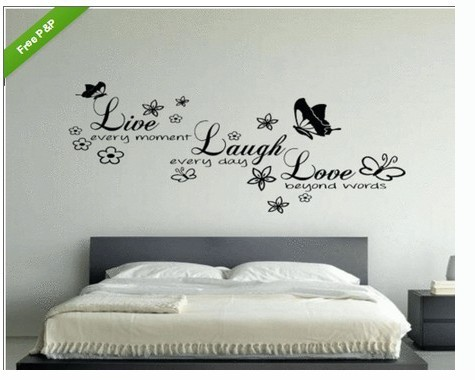Wall stickers home decor english quote live every moment vinyl lettering words wall