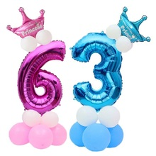 13pcs/set Birthday Balloons Number Foil 1 2 3 4 5 6 7 8 9 Years Happy Party Decoration Pillar Baby Kids ballon