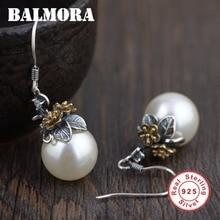 BALMORA 100% Real puro 925 pendientes de plata para las mujeres amante elegante perla partido regalo de boda