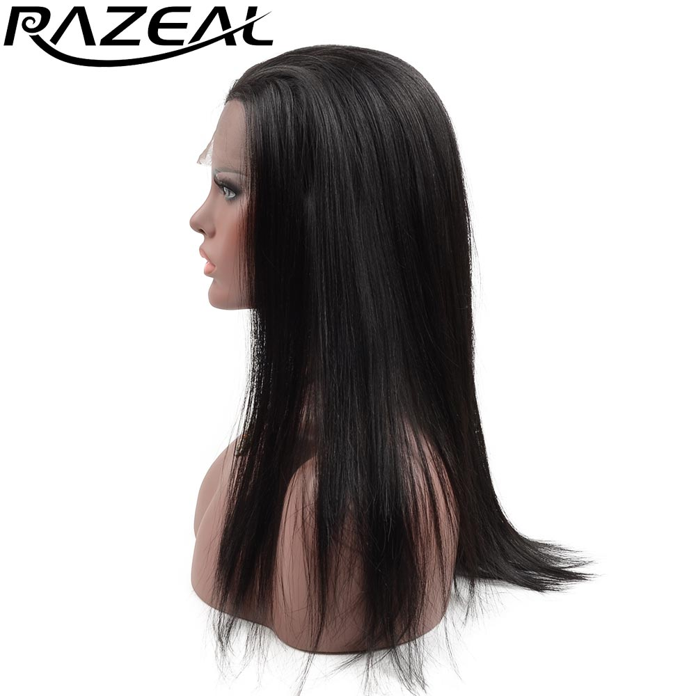 Razeal naturlig blick ljus blont silkeslen rak peruk med avskiljning - Syntetiskt hår
