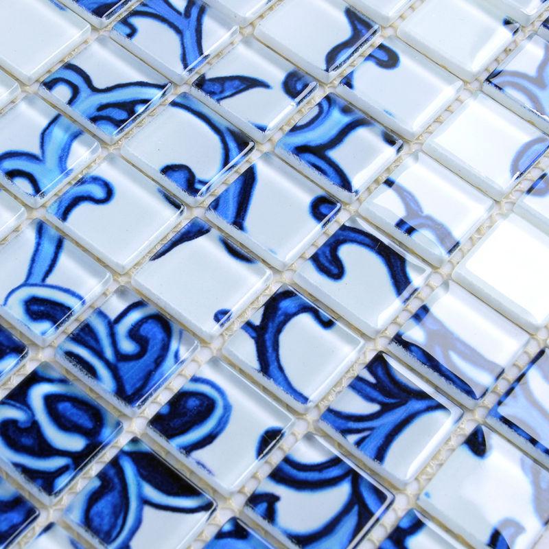 Crystal Glass Mosaic Blue And White Tile Backsplash