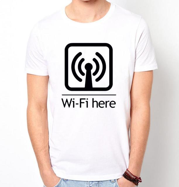 Wi-fi Hier Print Mannen t-shirt Fashion Casual Grappig Shirt Voor Man Wit Top Tee Harajuku Hipster Straat ZT203-53