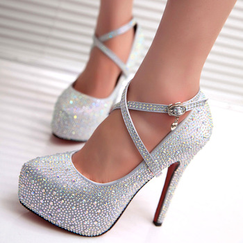 2020 crystal pumps women shoes platform high heels wedding shoes bride red silver platform high heels ladies shoes woman silver crystal wedding shoes bride super high heeled platforms bling shinny rhinestones bridal shoes ladies party pumps hs156