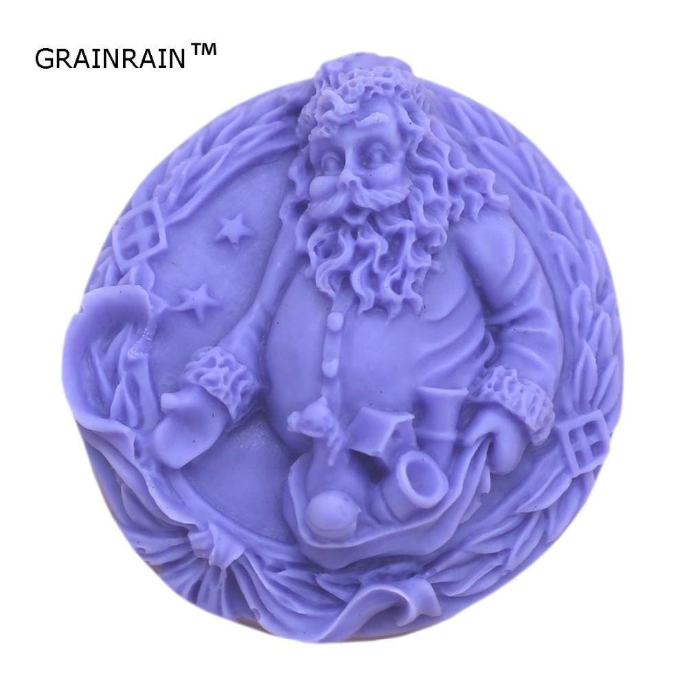 Grainrain Soap Mold Soap making Tools Diy Craft Candle Mould Silicone Molds Santa Claus