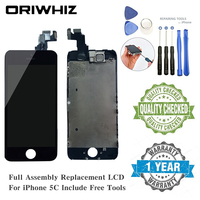 ORIWHIZ For iPhone 5C LCD Screen Black Assembly Display Replacement Touch Digitizer without Home Button with Front Camera