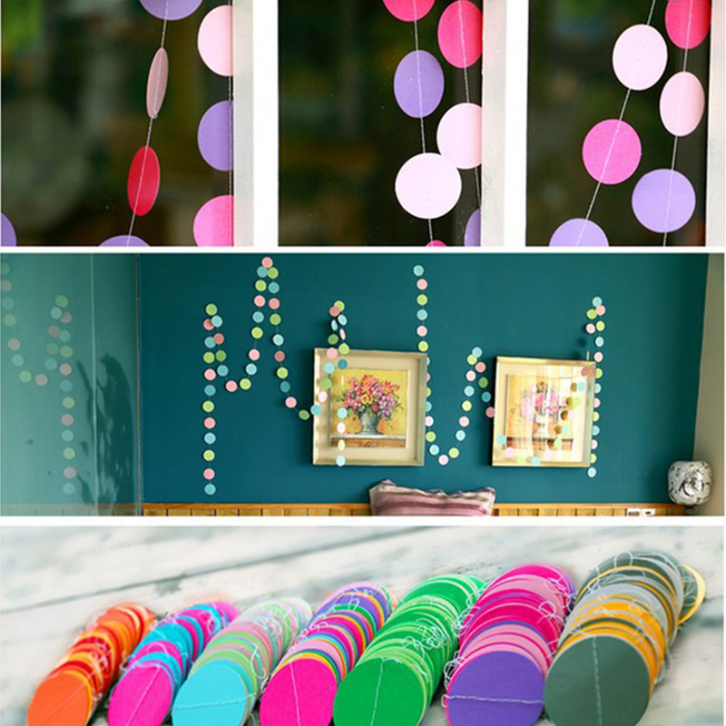 4m Colorful Round Shape Hanging Paper Garlands String Chain Wedding Party Home  Kids Birthday Decor Christmas Hanged Ornament