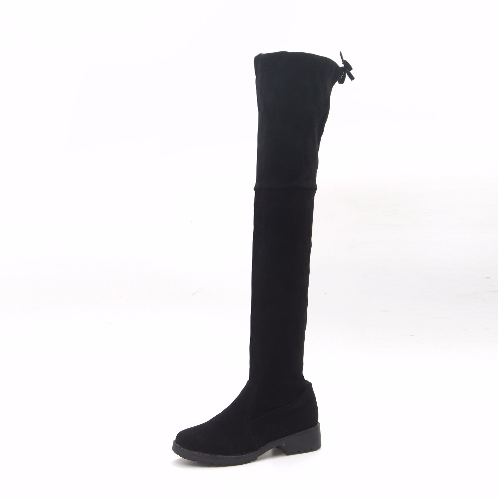 Slim Boots Sexy Over the Knee High Suede Women Snow Boots Women's Fashion Winter Thigh High Boots Shoes Woman SIZE 35-40 hot fashion solid concise suede slim thigh high women boots over the knee winter high heels woman shoes
